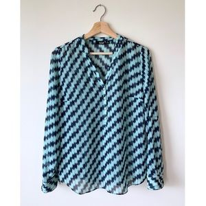 a.n.a. 🌊 Popover Blouse w Navy Turquoise Print